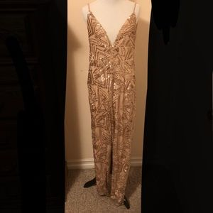 Nude Jumpsuit with Sequins